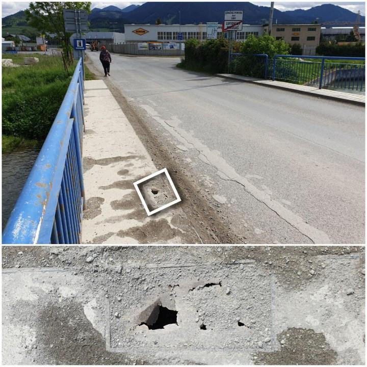 Problémové miesto na moste pred priemyselnou zónou v Okoličnom.