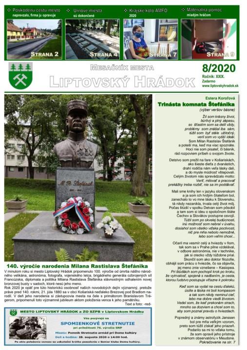 Titulná stránka augustového vydania mesačníka mesta.