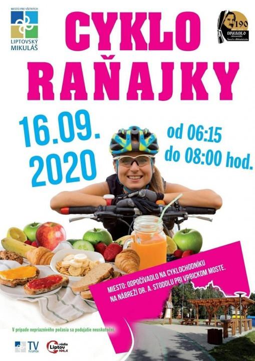 Cykloraňajky sa na cyklistickom odpočívadle pri Vrbickom moste na Nábreží uskutočnia v stredu 16. septembra 2020 od 6:15 hod do 8:00 hod.