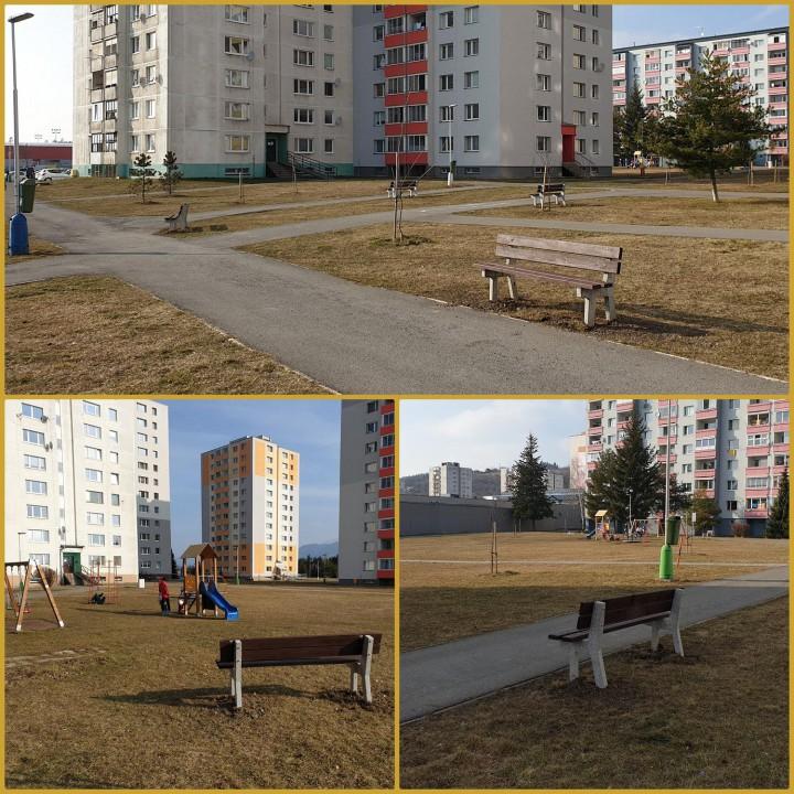 Nové lavičky vo vnútrobloku ulíc Žiarska a Za traťou.