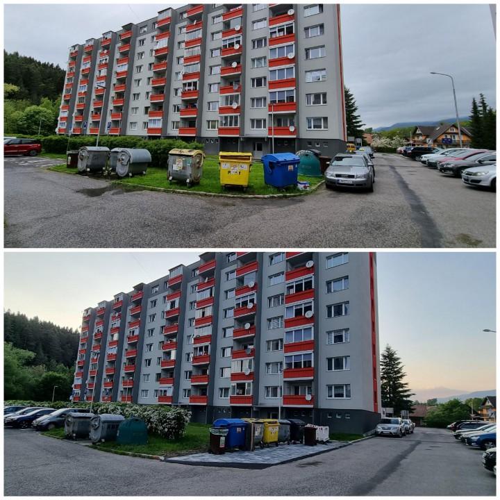 Situácia na Morušovej ulici pred a po vybudovaní stojiska.